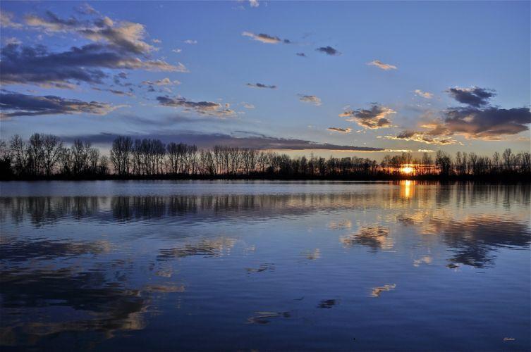 lake sunset evening reflection wallpaper