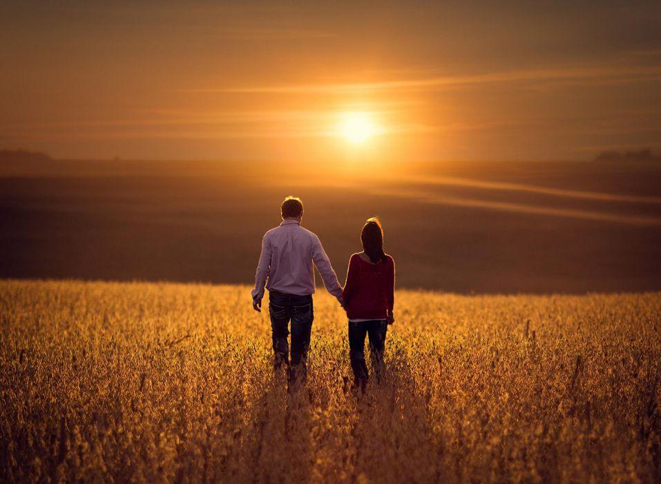 love couple field sun mood wallpaper