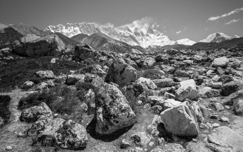 MountainLandscape SRocks Stones BW wallpaper