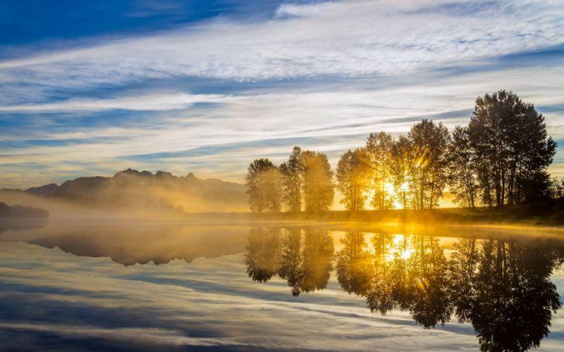 morning river light landscape wallpaper