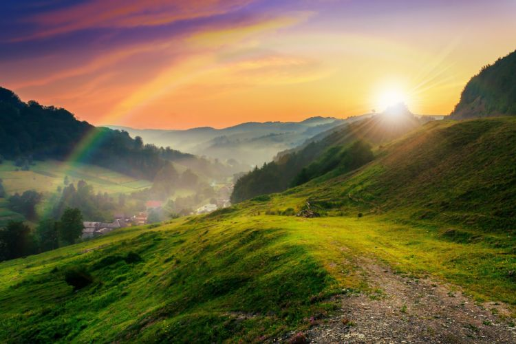 mountains trees meadow sun rays nature mountains trees lawn sun nature wallpaper