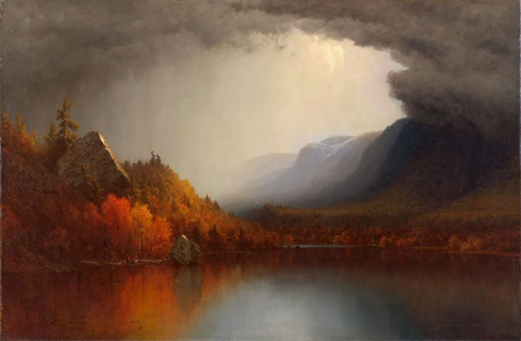 Sanford Robinson Gifford picture lake forest autumn clouds painting wallpaper