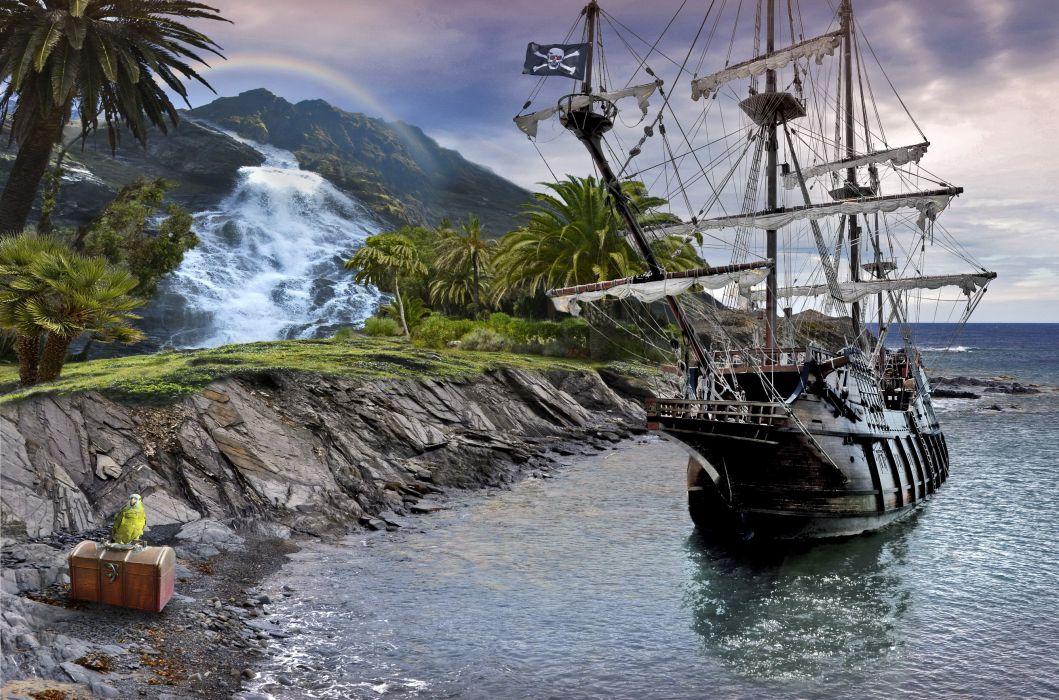 sea ship rocks chest parrot pirate waterfall fantasy wallpaper