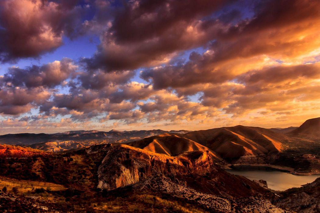 USA California Mountains Sierra Nevada lake clouds morning wallpaper