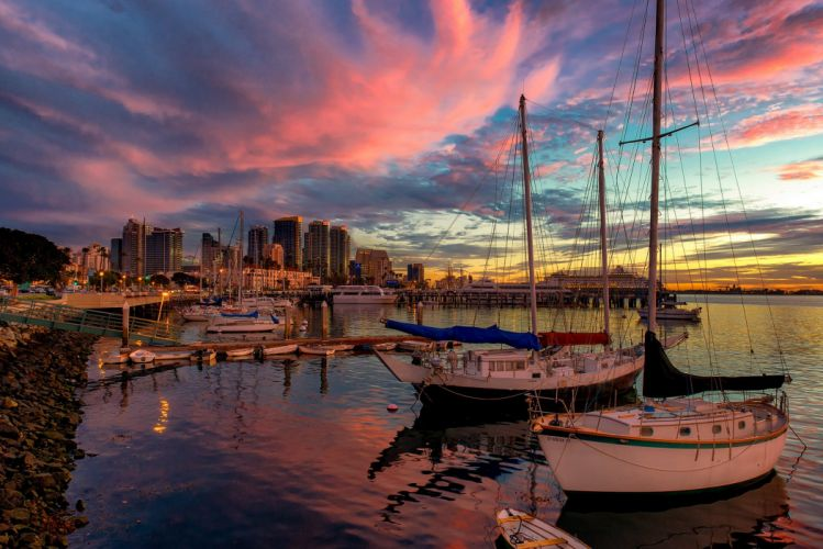 USA California San Diego dock boat evening wallpaper