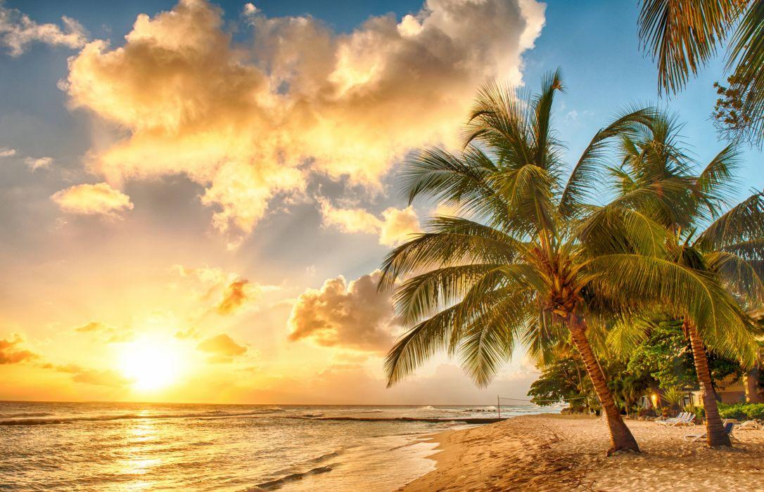 Tropics Coast Sky Sunrises and sunsets Palma Clouds Sand Nature wallpaper