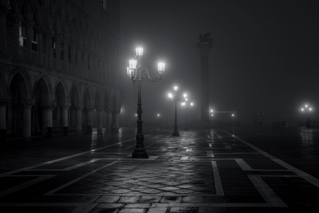 Venice Italy Piazza San Marco City Night Fog Lights Black And White Mood Wallpaper
