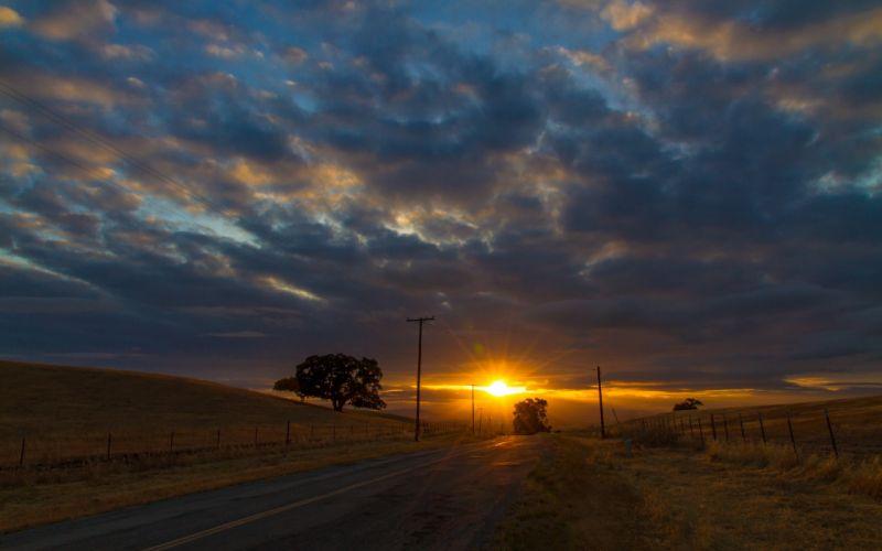 landscape road sunset wallpaper