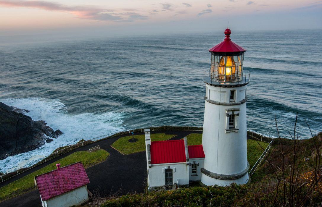 lighthouse rocks sky clouds house sea wallpaper