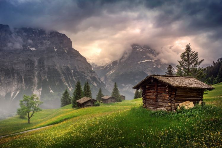 Switzerland mountains clouds houses wallpaper