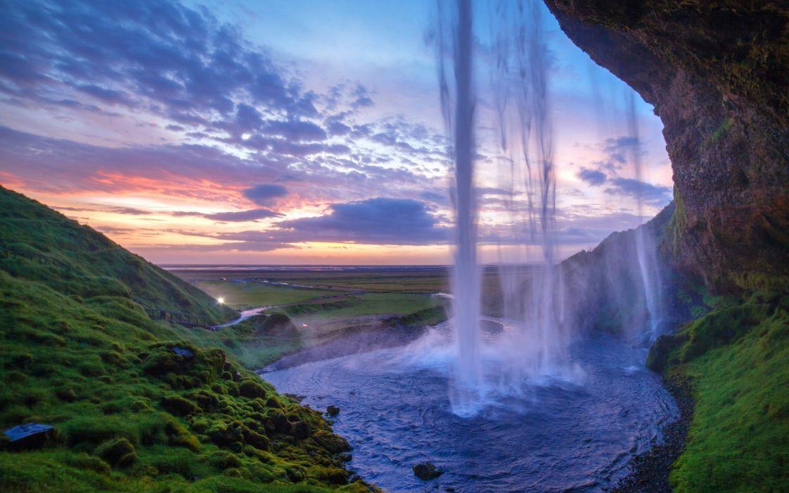 waterfalls hills foliage sunset rock wallpaper