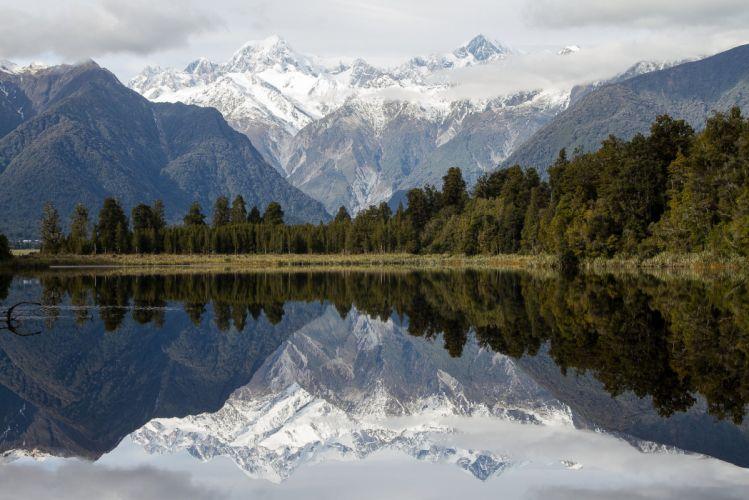 new zealand lake lake matheson mountains reflection wallpaper