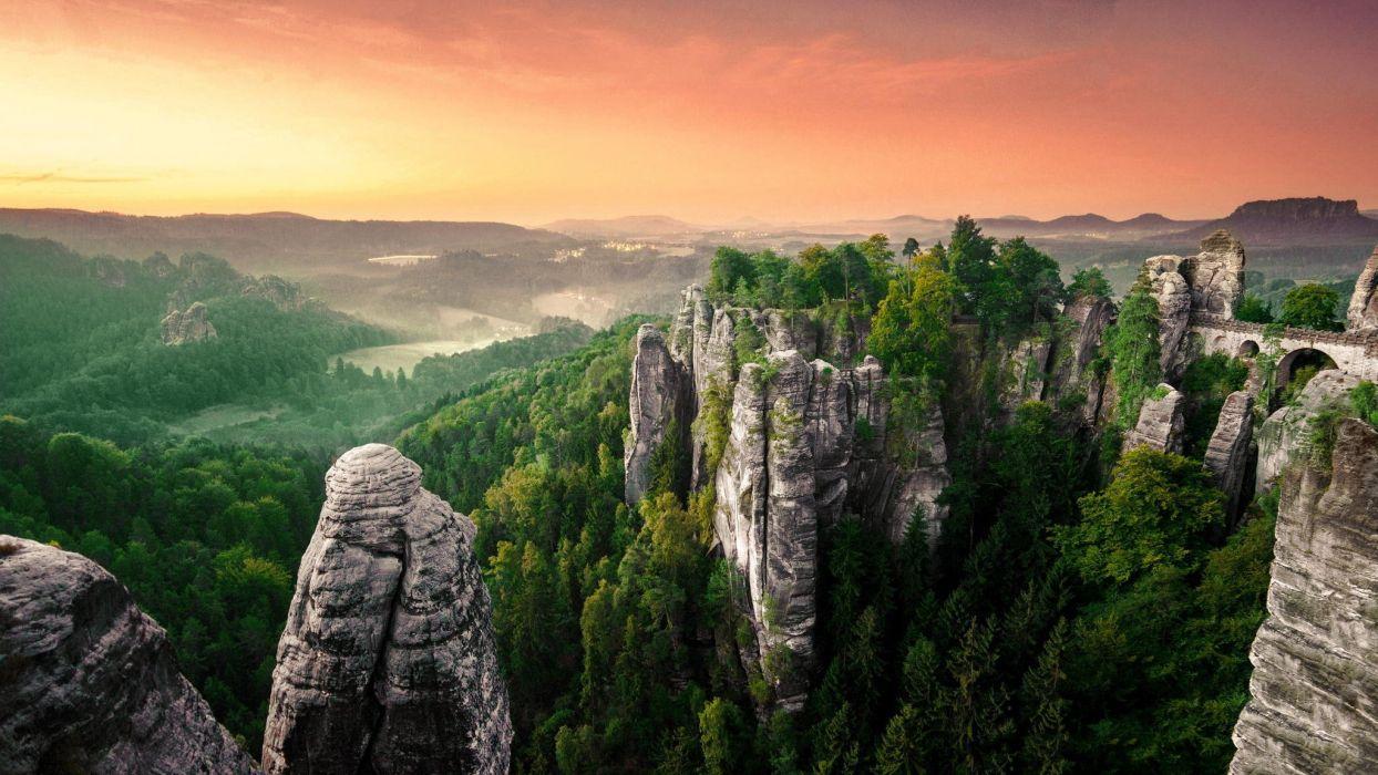 rocks landscape forest mist panorama wallpaper