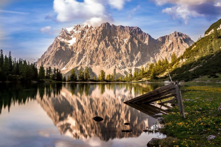 Zugspitze mountain Germany Austria forest water reflection wallpaper