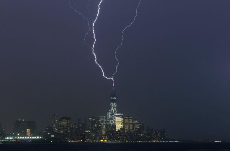 WTC WORLD TRADE CENTER skyscraper city cities building new york lightning wallpaper