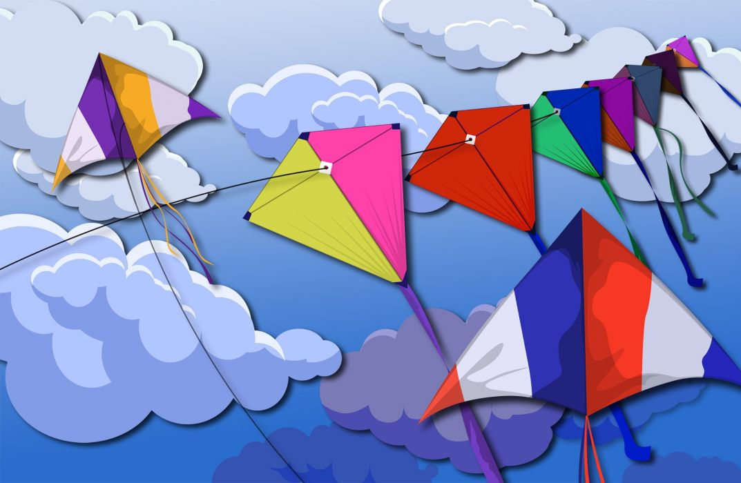 kite flying bokeh flight fly summer hobby sport sky toy fun wallpaper