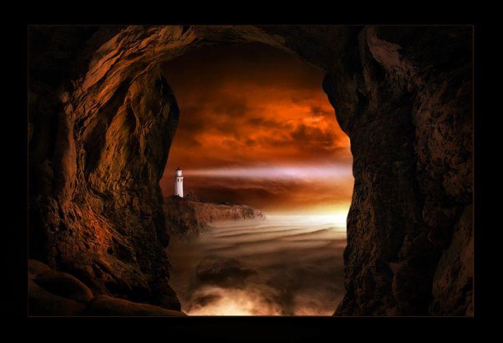 lighthouse fantasy ocean sea mood wallpaper