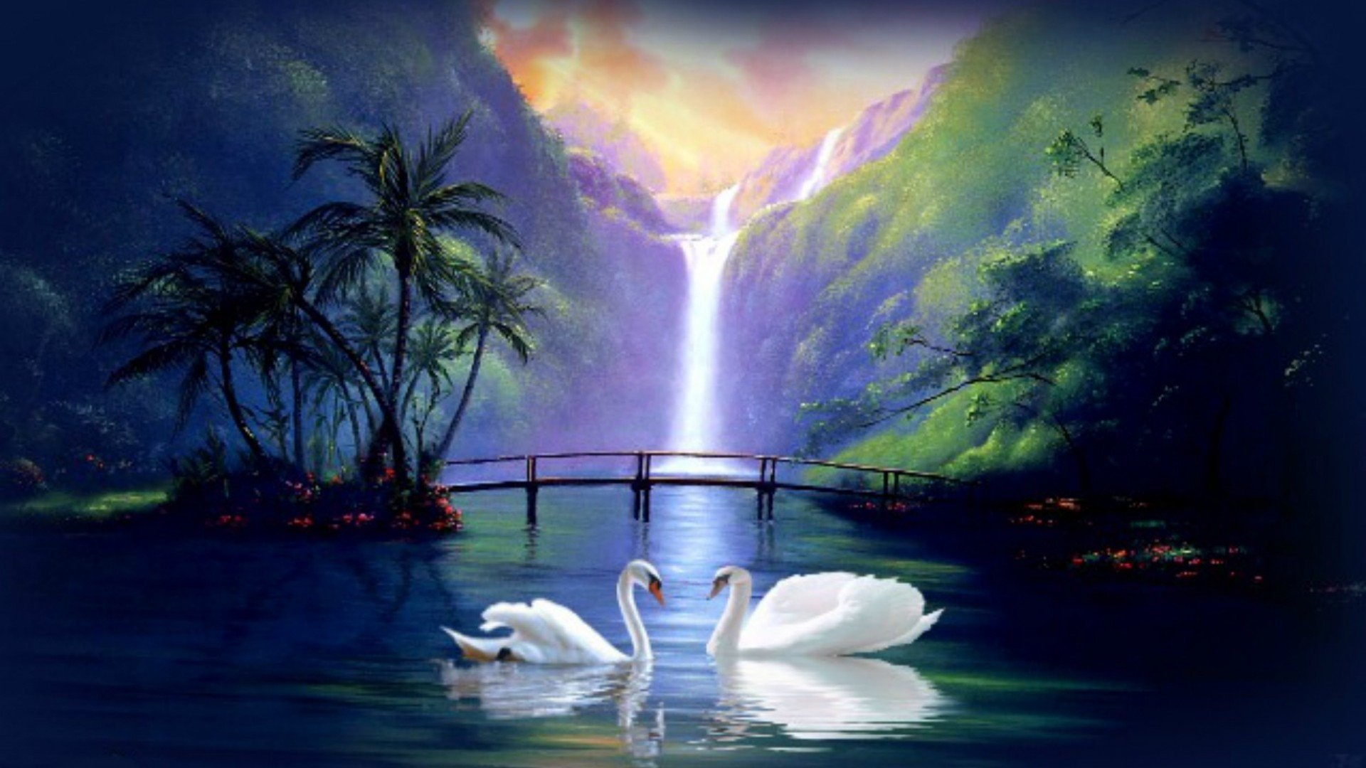 Swan love waterfall fantasy wallpaper 1920x1080 421606 WallpaperUP