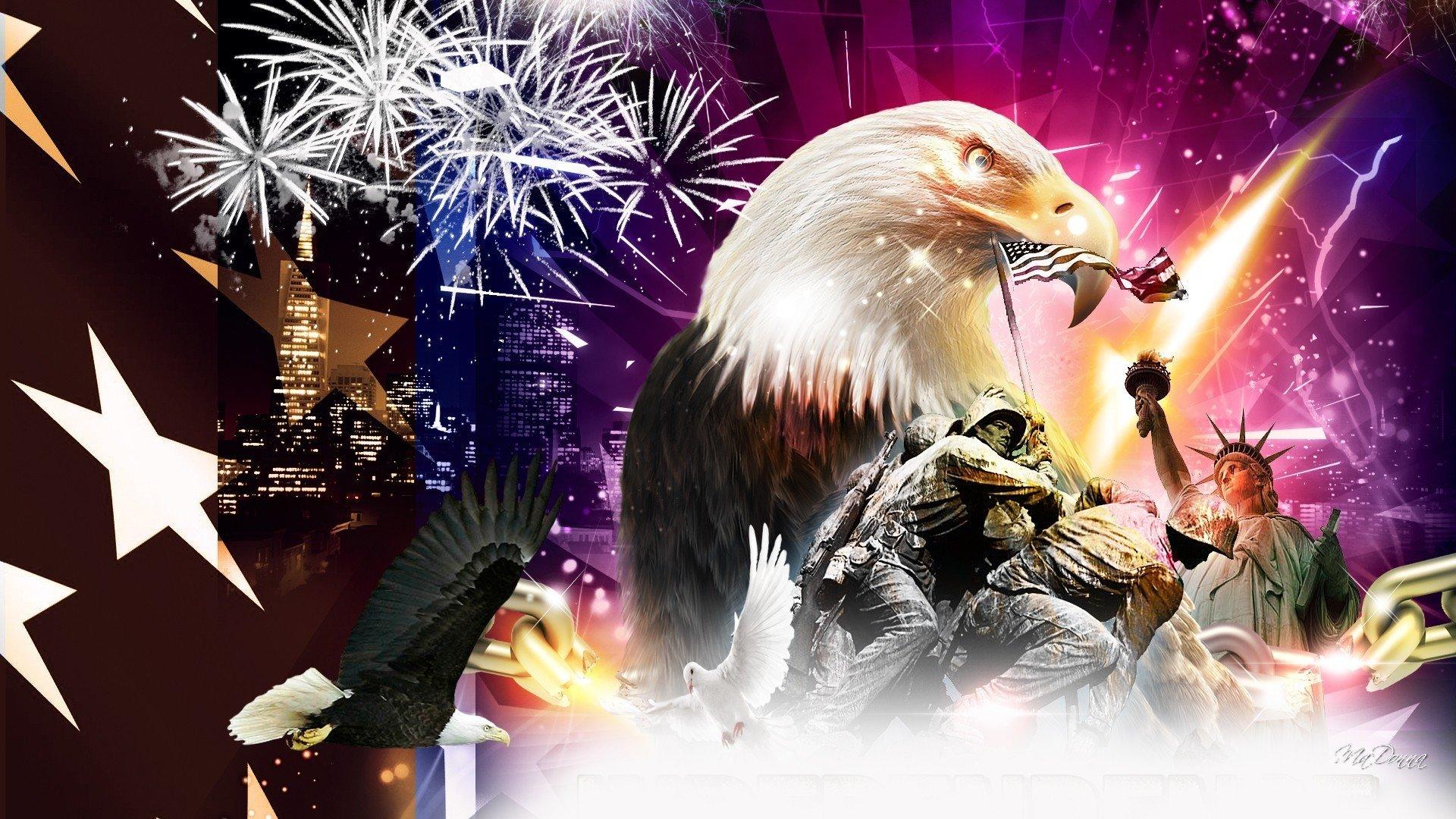 4th July Fireworks Eagle Mood America Usa Wallpaper