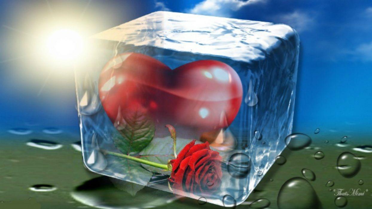 bokek ice heart love mood wallpaper