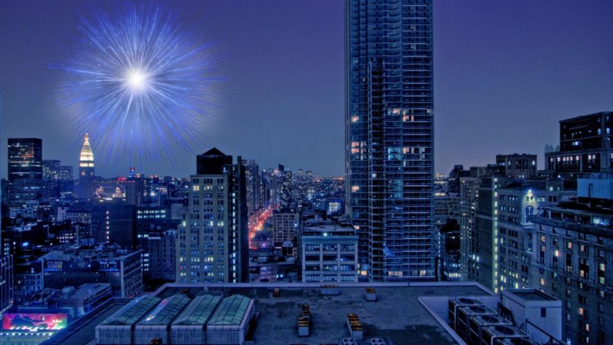 fireworks city cities night wallpaper