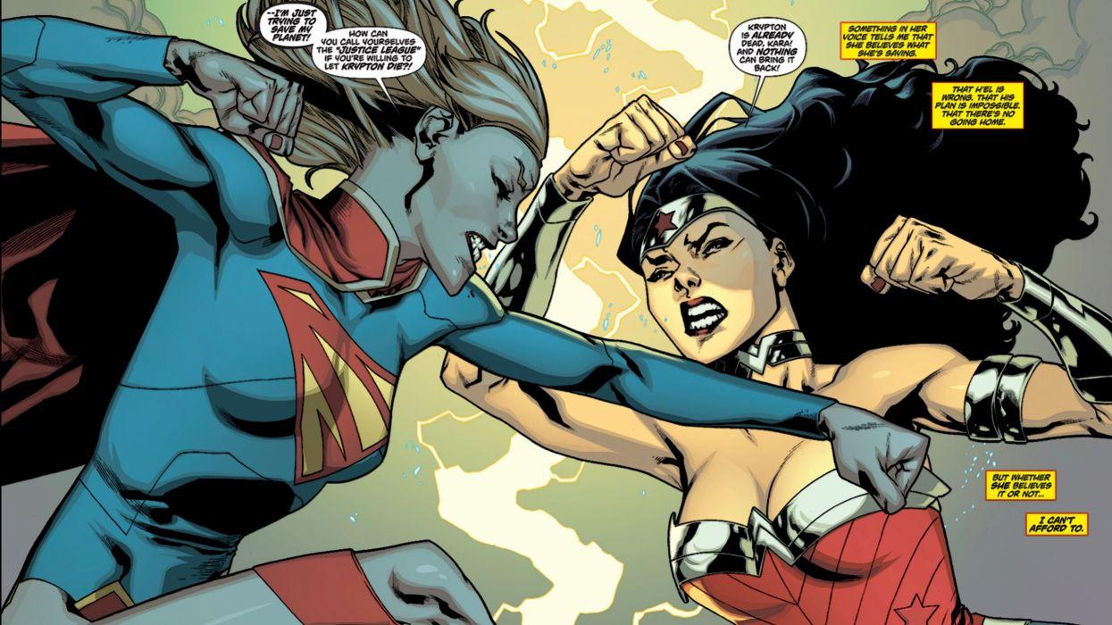 Supergirl Wonder Woman Fight wallpaper