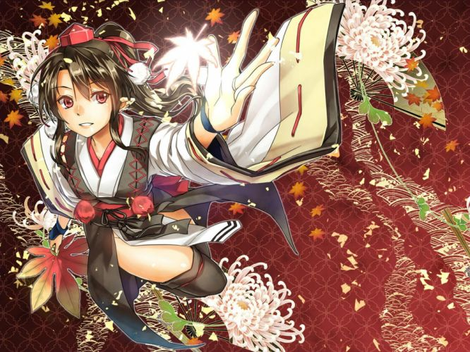 abo (hechouchou) black hair fan flowers hat japanese clothes petals pointed ears ponytail red eyes shameimaru aya short hair thighhighs touhou wallpaper