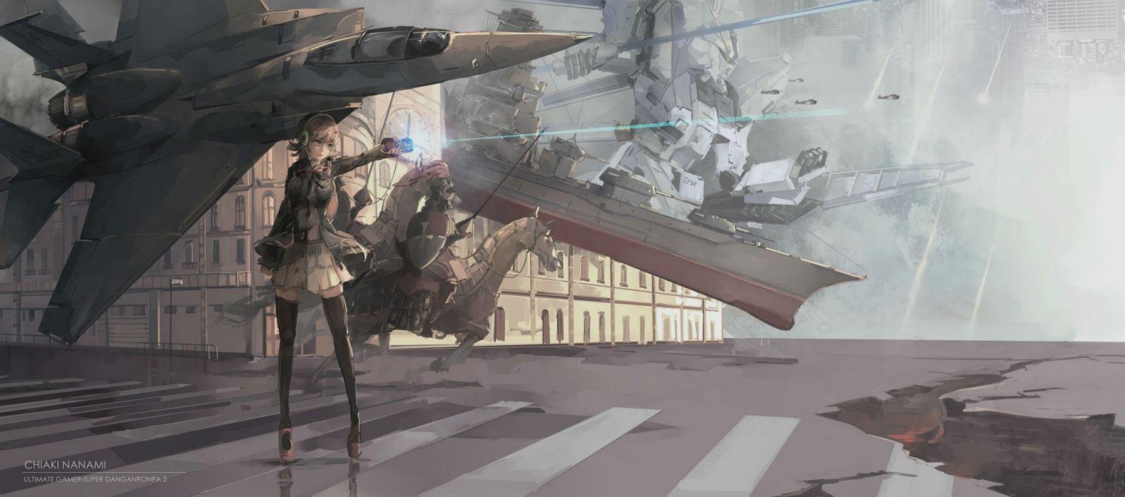 aircraft animal armor boat dangan-ronpa 2 horse jpeg artifacts mecha nanami chiaki qianqian tagme weapon wallpaper
