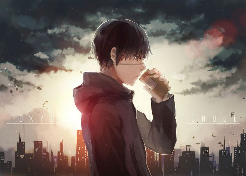 all male black hair brown eyes city clouds drink eyepatch fuurin kaneki ken male short hair tokyo ghoul wallpaper