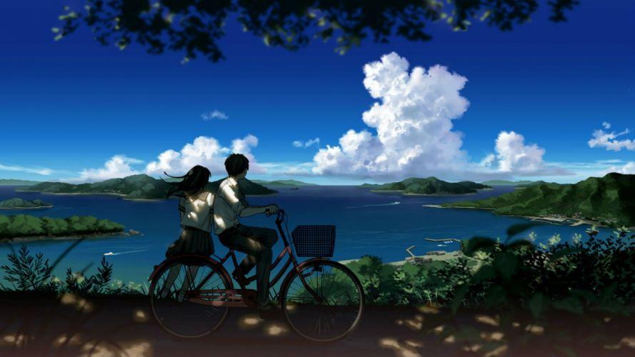 amemura (caramelo) bicycle black hair boat clouds landscape long hair male original scenic seifuku shade short hair skirt sky water wallpaper
