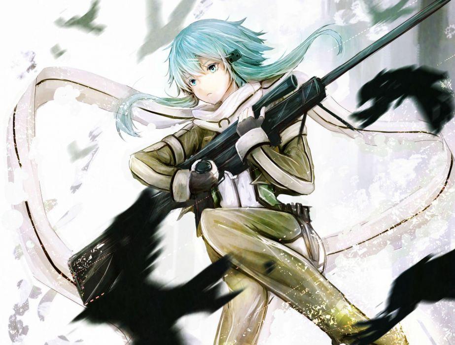 animal bird blue eyes blue hair gloves gun gun gale online marumoru scarf shinon (sao) short hair sword art online weapon wallpaper