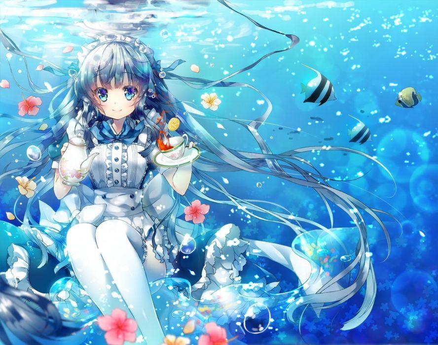 animal blue eyes blue hair bubbles drink fish flowers headdress long hair maid miwabe sakura original ribbons thighhighs underwater water wallpaper
