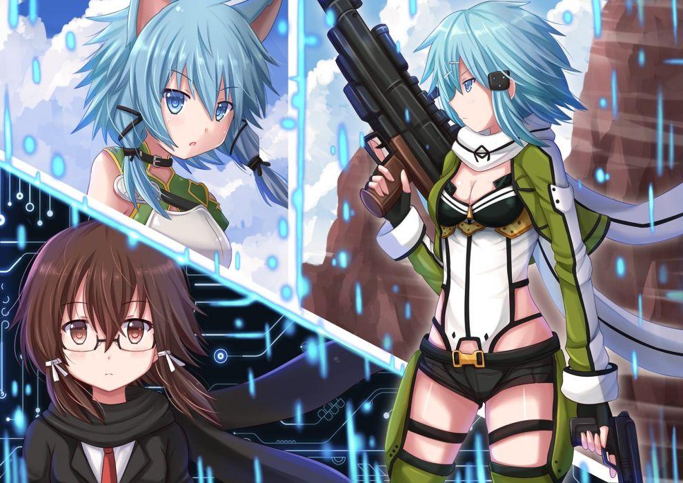 animal ears breasts cleavage glasses gun gun gale online kazenokaze shinon (sao) sword art online weapon wallpaper