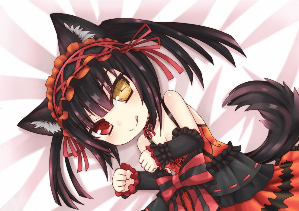 animal ears black hair bow catgirl date a live dress greenteaneko ribbons tagme tail tokisaki kurumi wallpaper