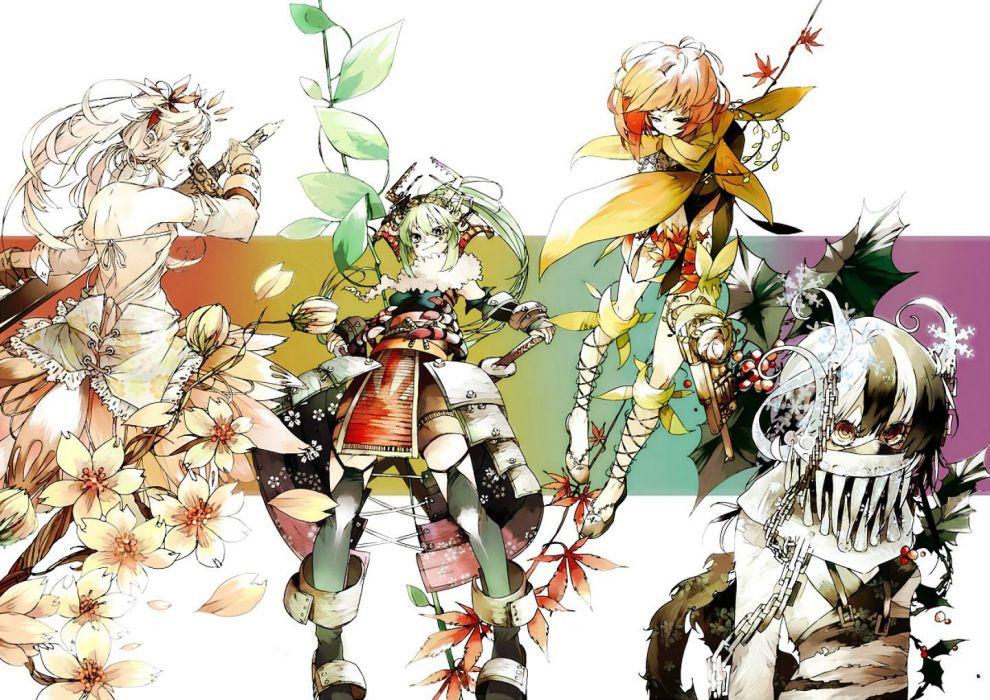 anthropomorphism armor autumn chain flowers kaie yuu katana original spring summer sword weapon winter wallpaper