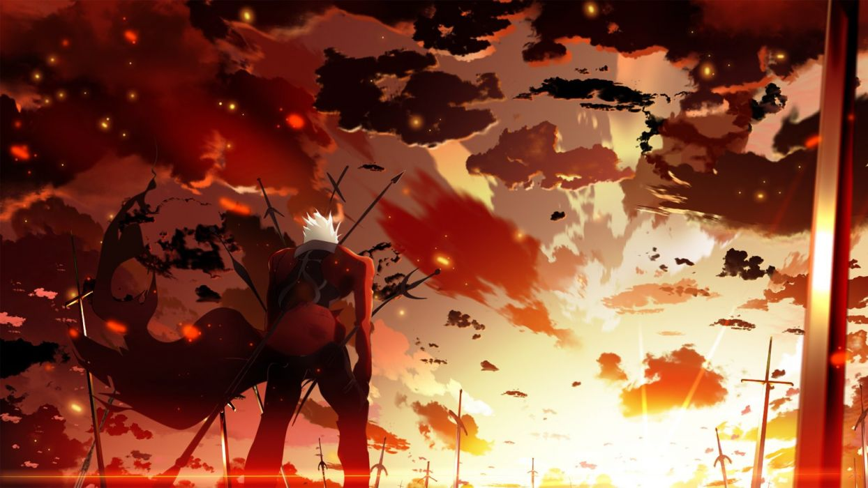 archer clouds fate stay night sky skyt2 sunset wallpaper