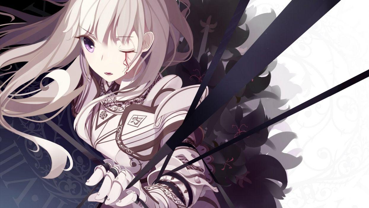 armor atha long hair original purple eyes tattoo white hair wallpaper