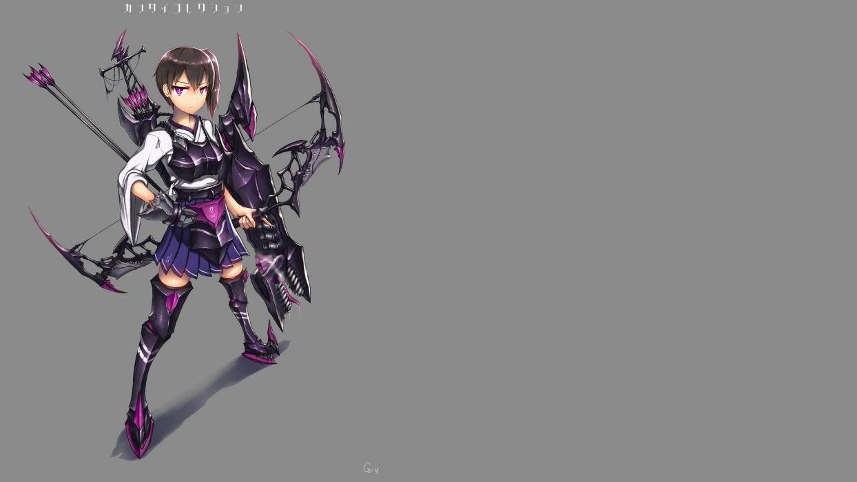 armor bow (weapon) brown hair gia gray kaga (kancolle) kantai collection ponytail purple eyes short hair signed skirt weapon wallpaper