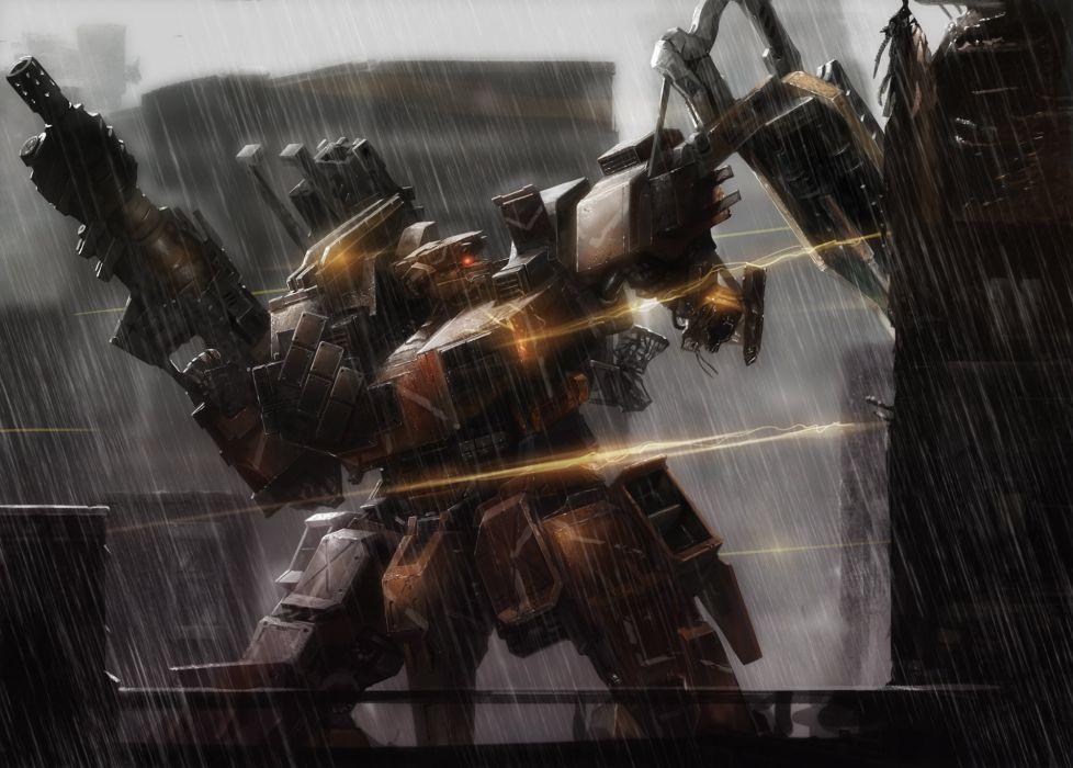 armored core cecetiv gun mecha rain water weapon wallpaper