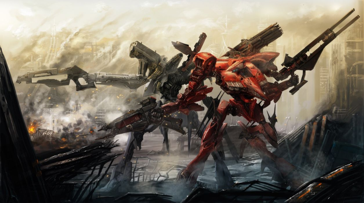 armored core armored core- for answer cecetiv fire gun mecha ruins weapon wallpaper