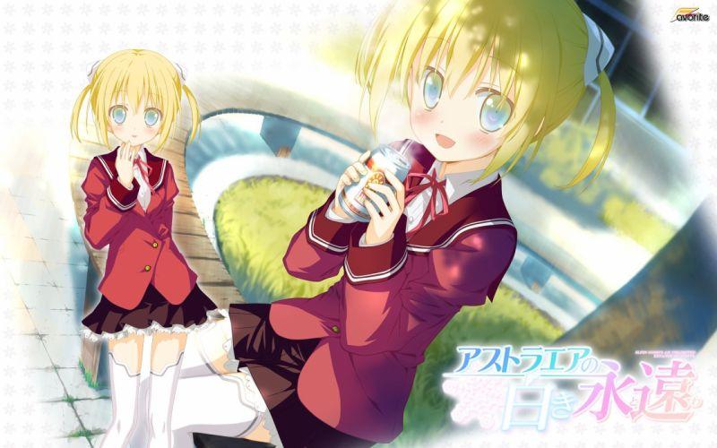astralair no shiroki towa blonde hair drink favorite green eyes korona (astralair no shiroki towa) seifuku shida kazuhiro thighhighs wallpaper
