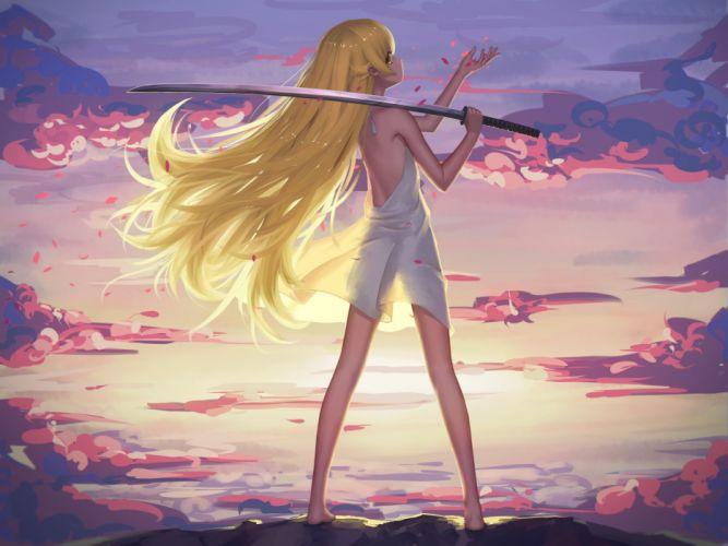 bakemonogatari barefoot blonde hair clouds dress katana long hair maredoro oshino shinobu petals sky sunset sword weapon yellow eyes wallpaper