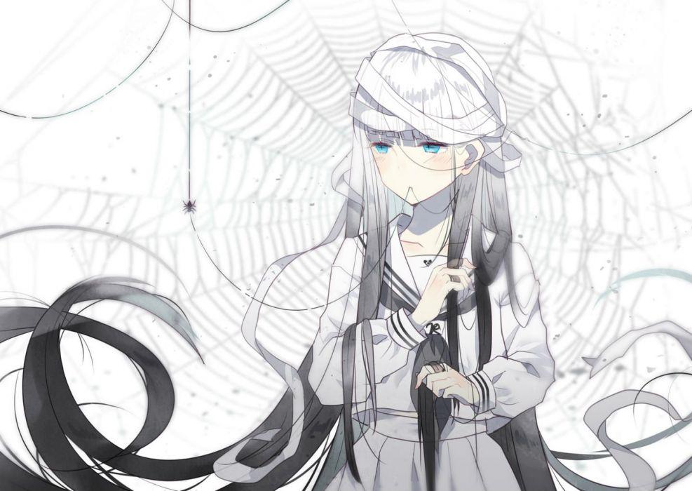 bandage blue eyes blush domotolain long hair original seifuku white hair wallpaper