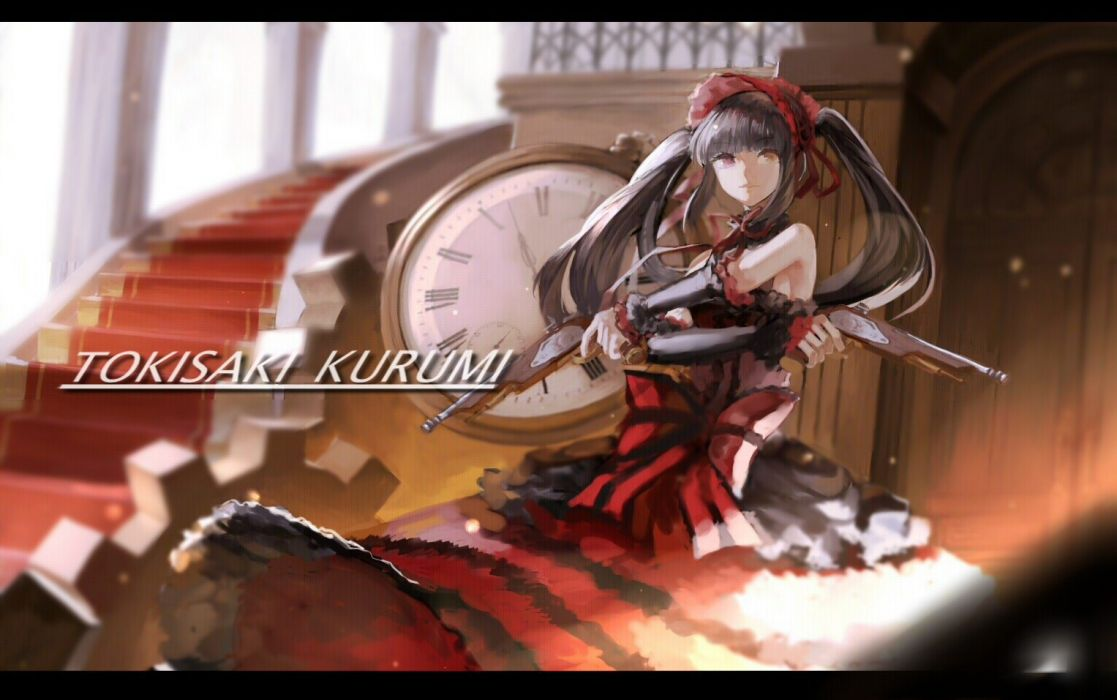 bicolored eyes black hair bow date a live dress gothic gun headdress long hair red eyes stairs tokisaki kurumi twintails weapon yellow eyes zpm wallpaper