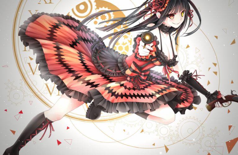 bicolored eyes black hair bow choker date a live dress gun ling (vivianling) long hair orange eyes tokisaki kurumi weapon yellow eyes wallpaper
