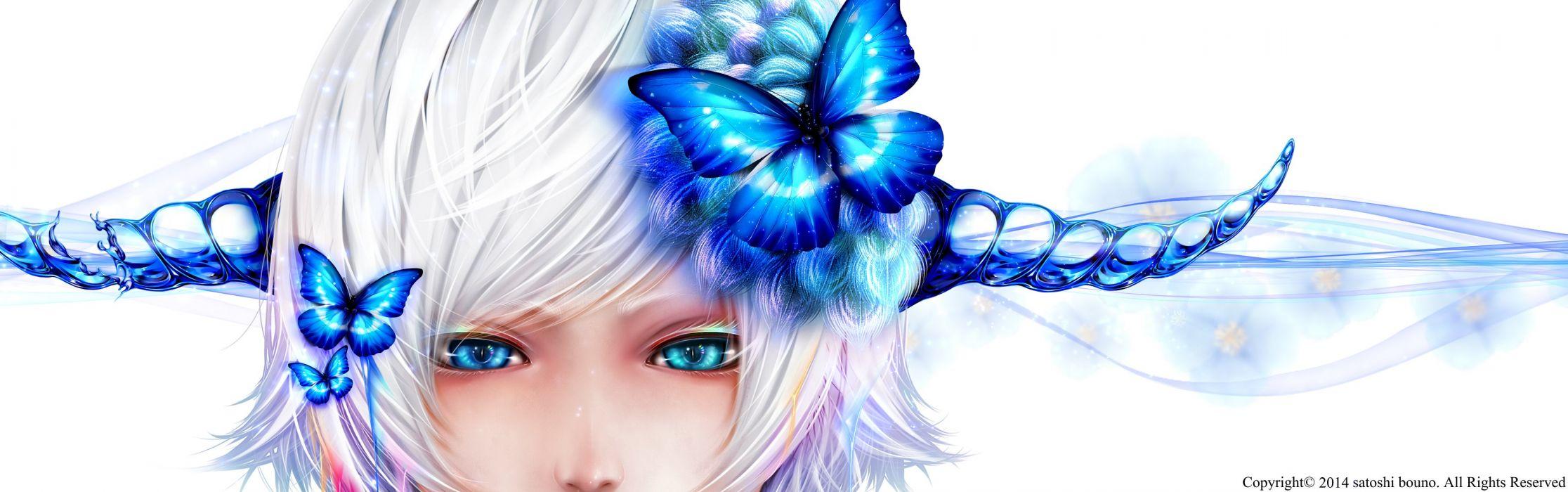 bicolored eyes blue eyes bouno satoshi butterfly flowers horns original short hair watermark white hair wallpaper