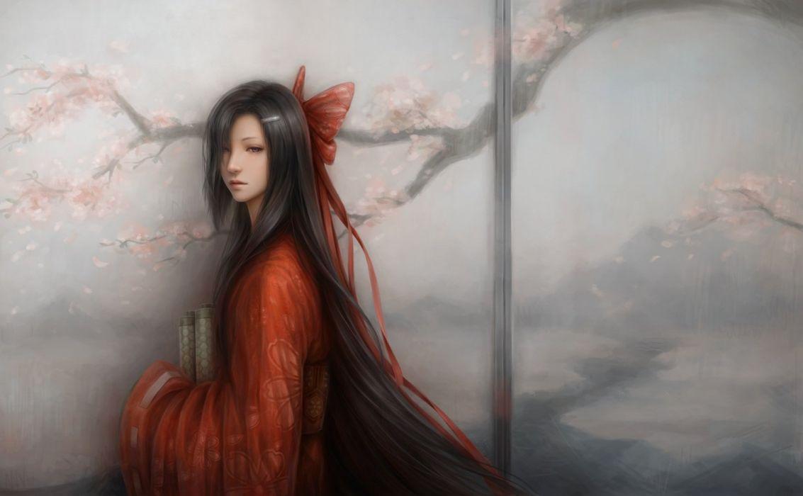 black eyes black hair bow cherry blossoms japanese clothes jason peng kasugano tsubaki kimono long hair mirai nikki wallpaper