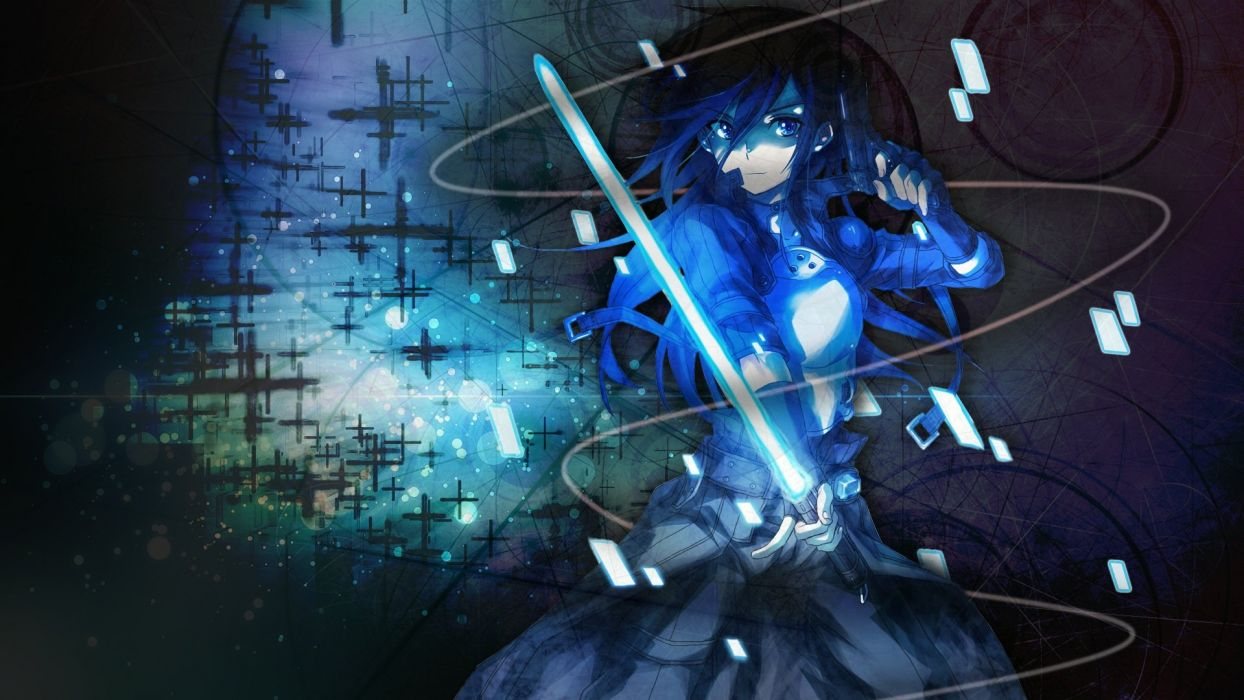 black hair blue eyes gun gun gale online kirigaya kazuto long hair sword weapon wallpaper