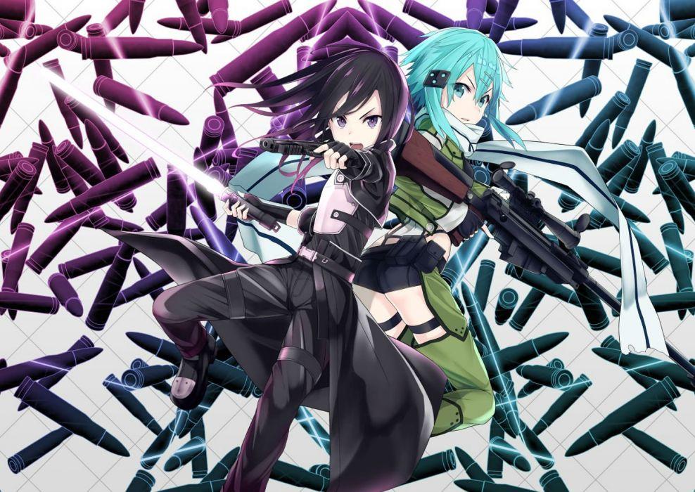 black hair blue hair buts gloves gun gun gale online kirigaya kazuto scarf shinon (sao) sword sword art online weapon wallpaper