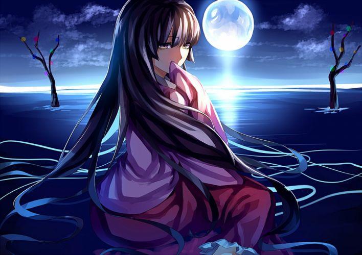 black hair houraisan kaguya japanese clothes long hair moon night sky touhou water yellow eyes wallpaper